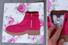 Quiet book page shoe with zipper and mouse pink