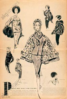 """Ladies' fashion, Paris Drawing by Walter Voigt  Damenmode, Frankreich, um 1960.  """"Paris bei Tag und Nacht"""" (Mode von Pariser Modeschöpfern). Druck nach Zeichnungen von Walter Voigt (1908–1984). Aus: Zeitschrift """"Die Mode"""". Privatsammlung.  #fashionillustration #fashion"""