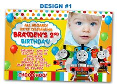 Thomas The Tank Train Photo Birthday Party Invitations