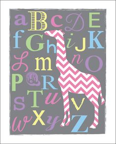 Chevron ABC's Giraffe Nursery Print in Gray-Girl via Etsy.