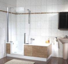 Right here is a tiny shower room style that claimed that realistically meets a simple, minimalist, modern-day and also luxurious indoor style. Beautiful Bathroom Decor, Minimalist Small Bathrooms, Small Bathroom Decor, Small Bathroom, Bathroom Renovations, Walk In Tub Shower, Small Bathroom Renovations, Bathroom Design, Bathroom Tub Shower