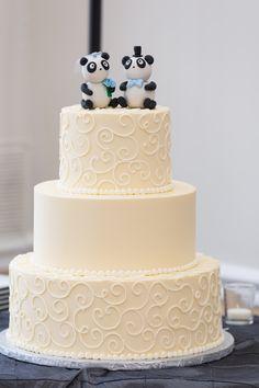 White Wedding Cake and Panda Cake Topper