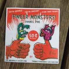 Finger Monster Enamel Pins 2 pack!