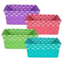 Bathroom Storage   Bulk Brightly Colored Rectangular Woven Plastic Baskets  At DollarTree.com
