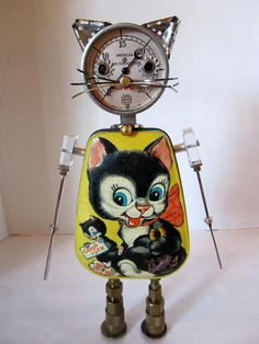 Bitti Kitty Bot - found object robot sculpture assemblage.