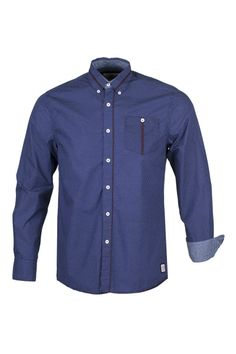 GUIDE LONDON - LS72605 - NAVY - Long Sleeve Mini-Dot Shirt