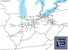 The Nickel Plate Road whose full name was the New York, Chicago and St. Louis Railroad which connected Buffalo with its namesake cities. In 1964 it was purchased by the N&W. Us Railroad Map, Railroad History, Train Map, Train Route, Baltimore And Ohio Railroad, System Map, Train Museum, North America Map, Trains