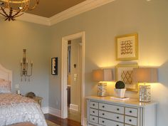Color to look into: Benjamin Moore Grey Wisp. Supposedly sometimes green, sometimes blue, sometimes grey, sometimes tan . Grey Paint Colors, Bedroom Paint Colors, Gray Bedroom, Paint Colors For Home, Trendy Bedroom, Home Bedroom, House Colors, Bedroom Decor, Master Bedroom