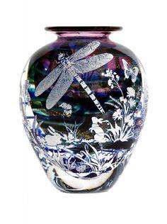 Gold Ruby Graal Dragonfly by Jonathan Harris Studio Glass