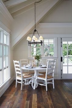 lake cottage decor. Dark floors with white walls! This would lighten up dark wood