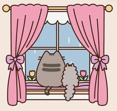 A rainy day with Pusheen & Stormy! _______________________________________________________________________ Don't know why are they watching at the rain when they don't like water…. Chat Pusheen, Pusheen Love, Kawaii Drawings, Cute Drawings, Pusheen Stormy, Kawaii Cat, Kawaii Wallpaper, April Showers, Leprechaun