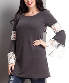 Another great find on #zulily! Charcoal Lace Bell-Sleeve Tunic - Plus by Reborn Collection #zulilyfinds
