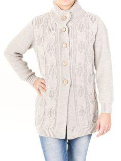 Chaqueta de punto trenzado y cuello doble para mujer. Espectacular para la temporada de frío con un diseño original y disponible en 6 colores. ¿La quieres?
