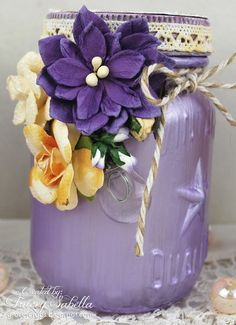 Scraps of Elegance scrapbook kit club - Video Tutorial - DIY Vintage Seaglass Jars - Tracey Sabella shows you how she made these gorgeous lavender / purple shabby chic Tim Holts Mini Mason Jars, using our June Stéphanie's Treasure kit Creativity Add on.  Find our kits here:  www.scrapsofdarkness.com