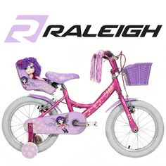 16 Inch Boys Bike With Stabilisers Green And Purple Children S