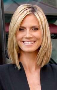 I like Heidi Klum's blunt cut straight hairstyle.