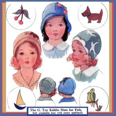 Toddlers 1920s FELT Cloche Hat flapper e-pattern