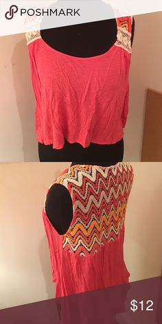 Lush Nordstrom pink crotchet top Pink top with a half crotchet back Lush Tops Tank Tops