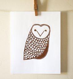 Owl Linocut Print. $15.00, via Etsy.