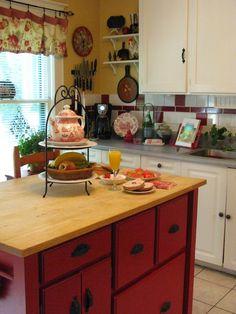New Kitchen Sink Window Valance Butcher Blocks Ideas Red Kitchen Decor, Kitchen Redo, Kitchen Colors, New Kitchen, Kitchen Remodel, Red Wall Kitchen, Kitchen Ideas, Kitchen Tips, Kitchen Island