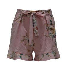 (12.29$)  Know more - http://airrz.worlditems.win/all/product.php?id=G8758P-M - New Women Floral Print Shorts High Waist Ruffle Ruched Side Pocket Zipper With Belt Shorts