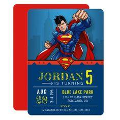 Superman | Happy Birthday Invitation Superman Invitations, Superhero Birthday Invitations, Superhero Birthday Party, 5th Birthday, Superman Party Theme, Birthday Ideas, Surprise Birthday, Disney Birthday, Birthday Cards