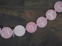 It's a  Girl Banner Pink Welcome Baby by whimsycreationsbyann, $16.99