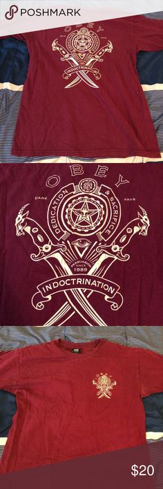 1f4ddfbefd7b09 OBEY Shirt burgundy men's First picture shown is the bag side of the shirt,  Last