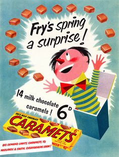 Fry's Caramets are bursting with taste apparently! :) #vintage #ad #food #1950s #candy #chocolate #caramels