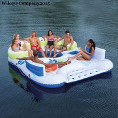Inflatable+6+Person+Floating+Island+for+Ocean+Pool+Lake+Water+Lounge+Party+Raft+#Bestway