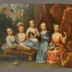 James Maubert (Ireland 1666-1746 London) A portrait group of the Smith children, full-lengths on a terrace with a spaniel, basket of flowers and a parakeet, signed 'J:Maubert pinx.' (lower left) click thru for lots more info. on painter & sitters.