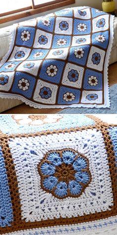 Crochet Motifs, Crochet Quilt, Granny Square Crochet Pattern, Afghan Crochet Patterns, Crochet Afghans, Baby Blanket Crochet, Knitting Patterns, Easy Knitting, Start Knitting