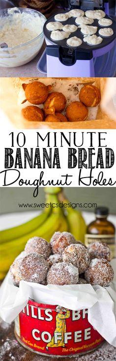 Recipes with Banana -- 10 minute baked banana bread doughnut holes - these are so delicious!