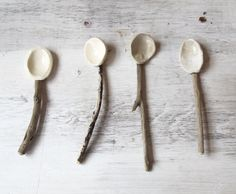 I'm becoming a bit obsessed by spoons.  These ones are driftwood porcelain sugar spoons.