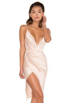 fc4daae6e700 Clothing : Bodycon Dresses : 'Coco' Nude Satin Drape Back Dress. Pin  Picture · Sexy Fashion Style