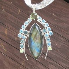 Labradorite Blue Topaz and Peridot Pendant by Crystalsidyll, $108.00