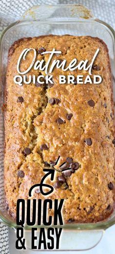 Quick Bread Recipes, Easy Bread, Sweet Recipes, Baking Recipes, Breakfast Bread Recipes, Recipes With Quick Oats, No Bake Desserts, Delicious Desserts, Just Desserts