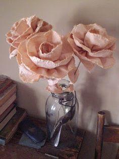Todolwen: Roses In Winter - muslin flowers.
