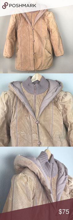 VTG 80s Tan Corduroy Puff Stranger Things Coat VTG 80s tan corduroy puff shoulder hooded coat with zipper down front and toggles. Hood detail is a double layer that has a toggle I took off that comes included, I never used it and it got in my face so it will be in the pocket if you want it. Quilted puffy lining makes this the cutest coat to run around the woods late at night in. I love the late 70s-early 80s style that Stranger Things is set in and this coat is perfect. Excellent vintage…