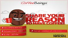 Love your COFFEE !! Share Your Reason To Have Coffee by tweeting Nescafe India on their official page and follow them @NESCAFEIndia to stand a chance to win. log on to http://tinyurl.com/peqjw5l