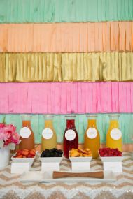 Party decor for little girl or spring party - love the gold, peach, pink, and turquoise together
