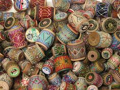 Wonderful Embroidery Project Idea to Display Wooden Spools ~  Could use lovely ribbons, too!