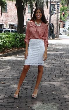 Classy Miss Lace Pencil Skirt  Classy Easy Look for Work