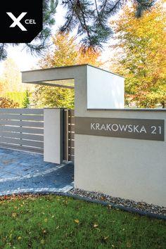 Gate Designs Modern, Modern Fence Design, House Gate Design, Roof Design, Entrance Gates, House Entrance, Modern Entrance, Modern Gates, Boundary Walls