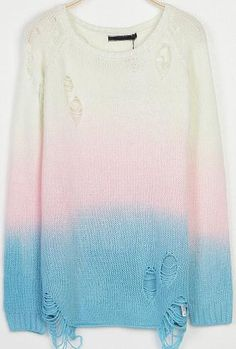 Blue White Ombre Long Sleeve Ripped Knit Sweater 25.00