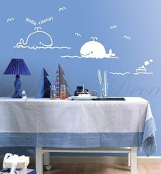 Made in US - Free Custom Color - Whale friends nursery removable vinyl art wall decals by PopDecals, http://www.amazon.com/dp/B005BXZ8YO/ref=cm_sw_r_pi_dp_vdwjqb1215M1J