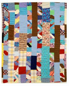 Vintage string quilt with gingham accents, in the ebook: QUILTS by Roderick Kiracofe