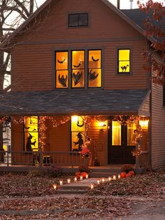 Make your windows spooky for Halloween with silhouette decals.   #fall #autumn #decorating #decor #halloween