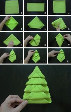 how to make christmas napkin foldhow to make christmas napkin foldCute and simple DIY Christmas decorations for a festive home!How to fold a Christmas tree SIMPLE napkin folding ideas Christmas Tree Napkin Fold, Christmas Towels, Christmas Napkins, Christmas Time, Origami For Christmas, Paper Napkin Folding, Napkin Origami, Origami Envelope, Deco Table Noel