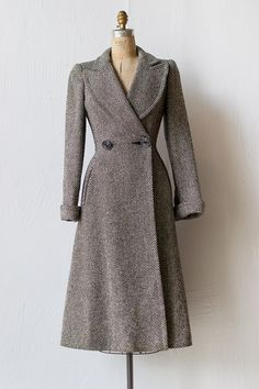 vintage 1940s grey striped princess coat |  Common Regalia Coat